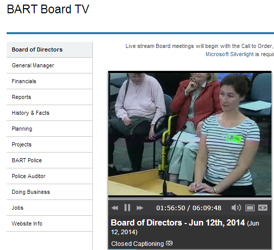 Me making public comment at a BART Board Meeting in favor of on-board bike racks