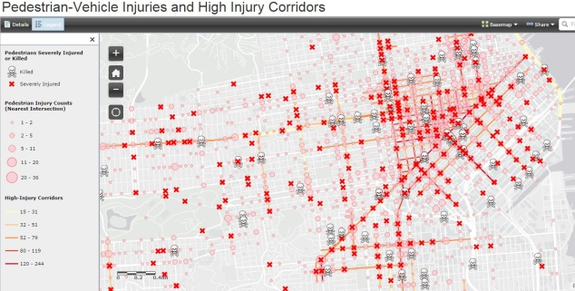 Pedestrian deaths and high injury corridors - source: sfgov